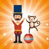 Circus presenter with monkey. Vector illustration design vector illustration