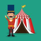 Circus presenter with tent. Vector illustration design royalty free illustration