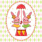 Circus rabbits on a pedestal. Royalty Free Stock Photo