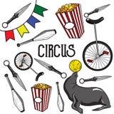 circus Raccolta delle icone disegnate a mano illustrazione di stock