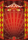 Circus red and gold rhombus poster. A retro circus poster with sunbeams for your entertainment Stock Photography