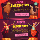 Circus 2 Retro Cartoon Banners Set. Traveling circus amazing show 2 retro cartoon style horizontal banners set with clown and magician isolated vector Stock Photography