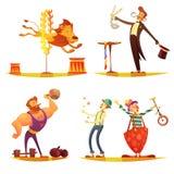 Circus Retro Cartoon 4 icons Square Royalty Free Stock Image