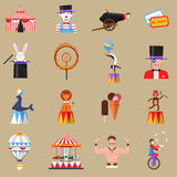 Circus retro flat icons set print Royalty Free Stock Photo