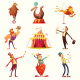 Circus Retro Icons Cartoon Set Royalty Free Stock Photos