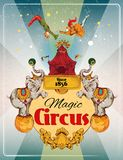Circus retro poster. Magic traveling circus tent fantastic show announcement vintage poster with elephans and aerialist acrobat performance vector illustration Royalty Free Stock Images