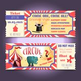 Circus retro tickets Royalty Free Stock Images
