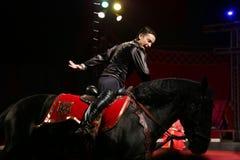Circus rider during performance Royalty Free Stock Image