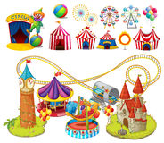 Circus rides and tents Royalty Free Stock Images