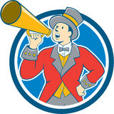 Circus Ringmaster Bullhorn Circle Cartoon. Illustration of circus ringleader ringmaster ring leader announcer wearing tall top hat  and bow tie suit speaking Stock Photography