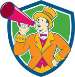 Circus Ringmaster Bullhorn Crest Cartoon. Illustration of circus ringleader ringmaster ring leader announcer wearing tall top hat  and bow tie suit speaking thru Stock Photos