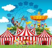 Circus scene with children and rides Royalty Free Stock Photos