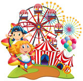 Circus scene with kids on the ride Royalty Free Stock Image