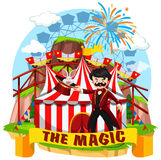 Circus scene with magician and rides Stock Photos