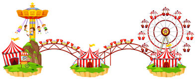 Circus scene with many rides Stock Photography