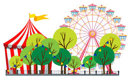 Circus scene with tent and ferris wheel Stock Photo