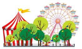 Circus scene with tent and ferris wheel Stock Photo