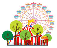 Circus scene with tent and ferris wheel Stock Images