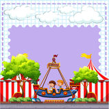Circus scene with two children riding Royalty Free Stock Images