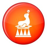 Circus seal with a ball icon, flat style Stock Image