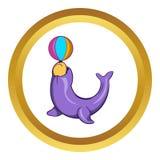 Circus seal with a ball vector icon, cartoon style Stock Photography