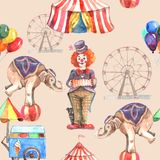 Circus Seamless Pattern. With balloons animals and entertainment tent vector illustration Stock Image