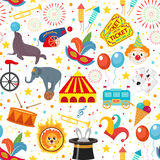 Circus seamless pattern. Holiday carnival endless background, texture. Isolated on white background. Vector illustration.  Royalty Free Stock Image
