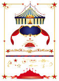 Circus set. A circus set with a big top, design elements, a ribbon.... create yourself a poster for your circus royalty free illustration