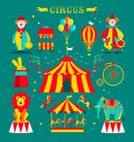 Circus set with clowns, elephant, lion, carousel , bike and rabbit in hat. vector illustration