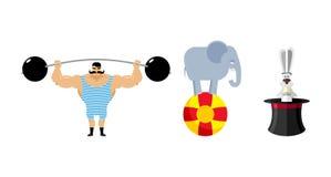 Circus set elements. Vintage circus strongman. Retro athlete wit Stock Photography