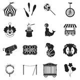 Circus set icons in black style. Big collection circus vector symbol stock illustration Stock Photography