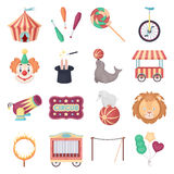 Circus set icons in cartoon style. Big collection of circus vector illustration symbol. Royalty Free Stock Photos