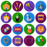 Circus set icons in flat style. Big collection circus vector symbol stock illustration Stock Image