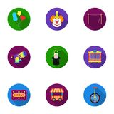 Circus set icons in flat style. Big collection of circus vector symbol stock illustration Royalty Free Stock Images