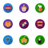 Circus set icons in flat style. Big collection of circus vector symbol stock illustration Stock Images