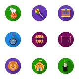 Circus set icons in flat style. Big collection of circus vector symbol stock illustration Stock Photography