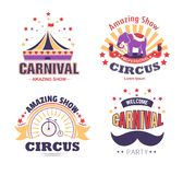 Circus show and carnival party isolated icons tent and elephant. Carnival party and circus show isolated icons vector striped tent and elephant bicycle and royalty free illustration