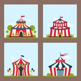 Circus show entertainment tent marquee vector illustration
