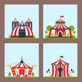Circus show entertainment tent marquee marquee outdoor festival with stripes flags flayer brochure carnival card stock illustration