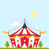 Circus show entertainment tent marquee marquee outdoor festival with stripes and flags isolated carnival signs Stock Images