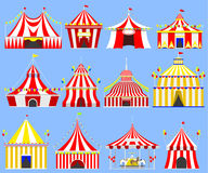 Circus show entertainment tent marquee marquee outdoor festival with stripes and flags isolated carnival signs Royalty Free Stock Images