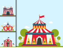 Circus show entertainment tent marquee marquee outdoor festival with stripes and flags isolated carnival signs stock illustration