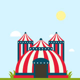 Circus show entertainment tent marquee marquee outdoor festival with stripes and flags isolated carnival signs Stock Photography