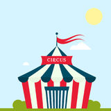 Circus show entertainment tent marquee marquee outdoor festival with stripes and flags isolated carnival signs royalty free illustration