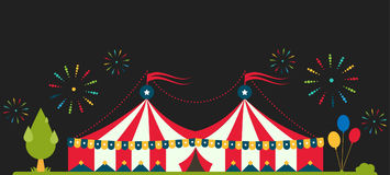 Circus show entertainment tent marquee marquee outdoor festival with stripes and flags isolated carnival signs vector illustration