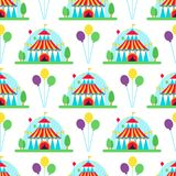 Circus show entertainment tent marquee outdoor festival with stripes flags carnival seamless pattern background vector royalty free illustration