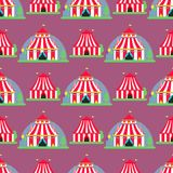 Circus show entertainment tent marquee outdoor festival with stripes flags carnival seamless pattern background vector stock illustration