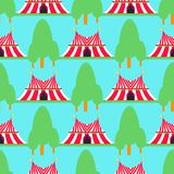 Circus show entertainment tent marquee outdoor festival with stripes flags carnival seamless pattern background vector vector illustration