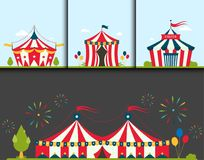 Circus show entertainment tent marquee marquee outdoor festival with stripes flags flayer brochure carnival card vector illustration