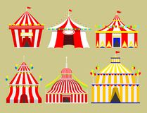Circus show entertainment tent marquee outdoor festival with stripes and flags isolated carnival signs vector illustration